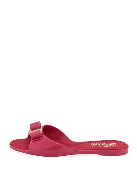 Salvatore Ferragamo Cirella Flat PVC Jelly Bow Slide Sandals, Hot Pink