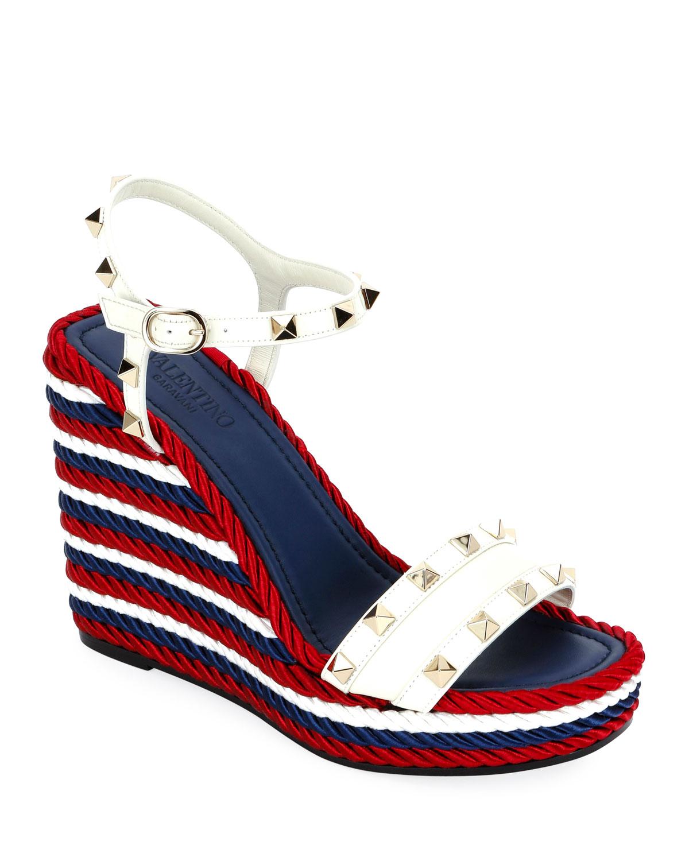 0a30dac55fe7 Valentino Garavani Rockstud Leather Torchon Wedge Sandals