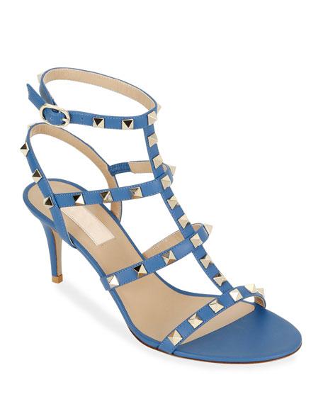 Valentino Garavani Rockstud Caged Ankle-Strap Sandals