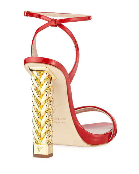 Patent Leather Chain-Heel Sandals