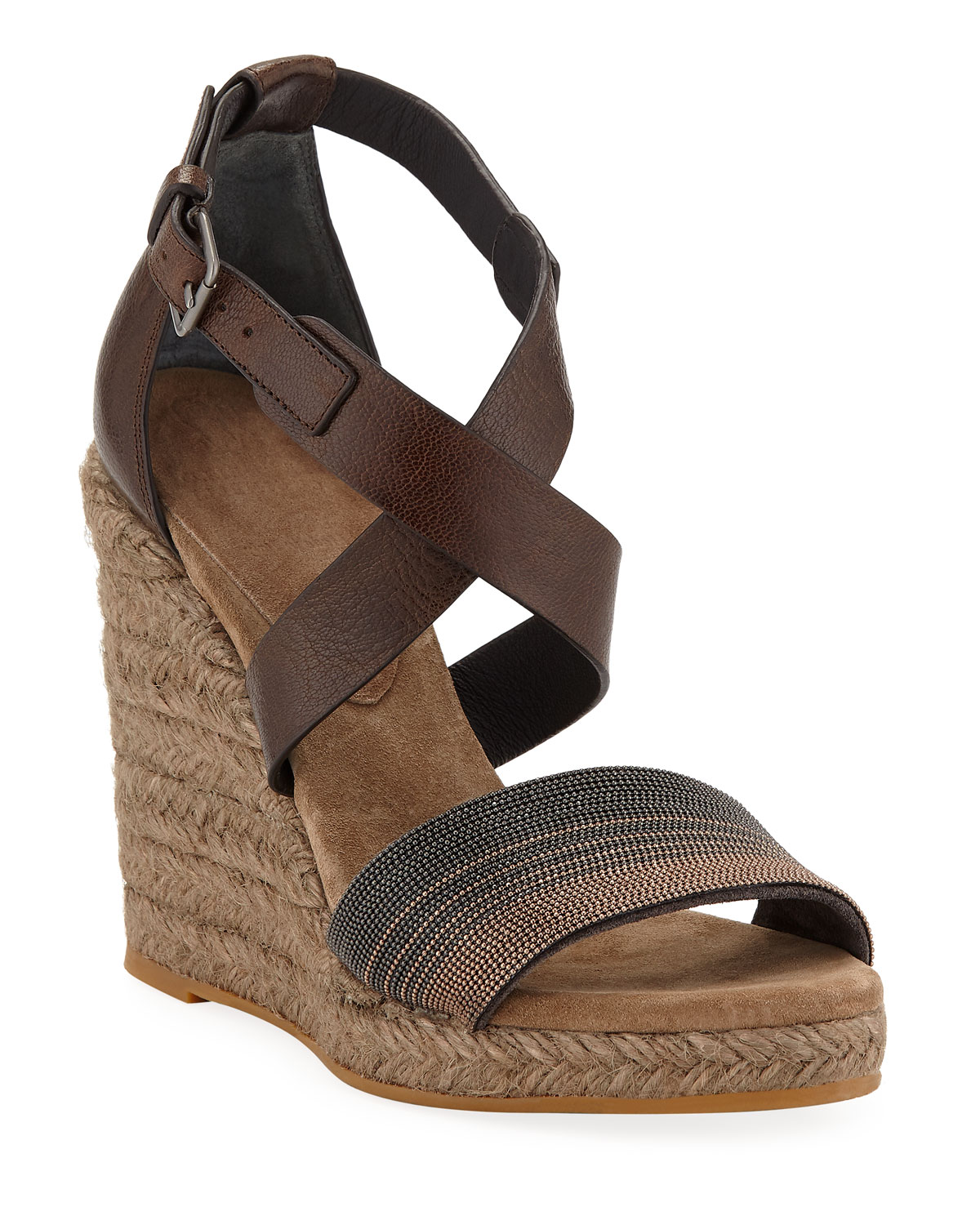 b962755e7ead Brunello Cucinelli Leather Wedge Espadrille Sandals