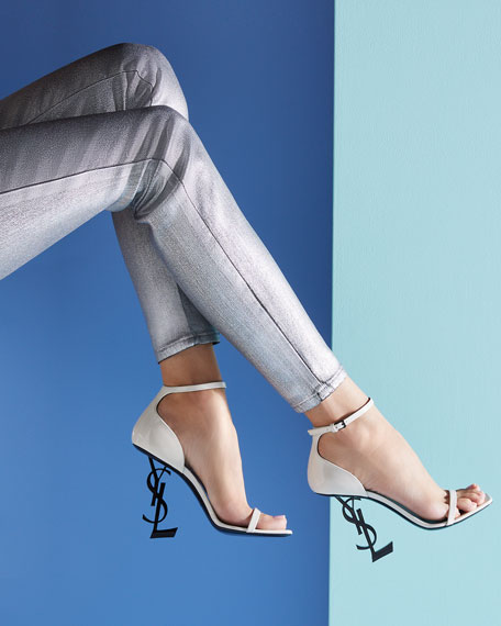 Opyum YSL Logo-Heel Sandals with Black Hardware