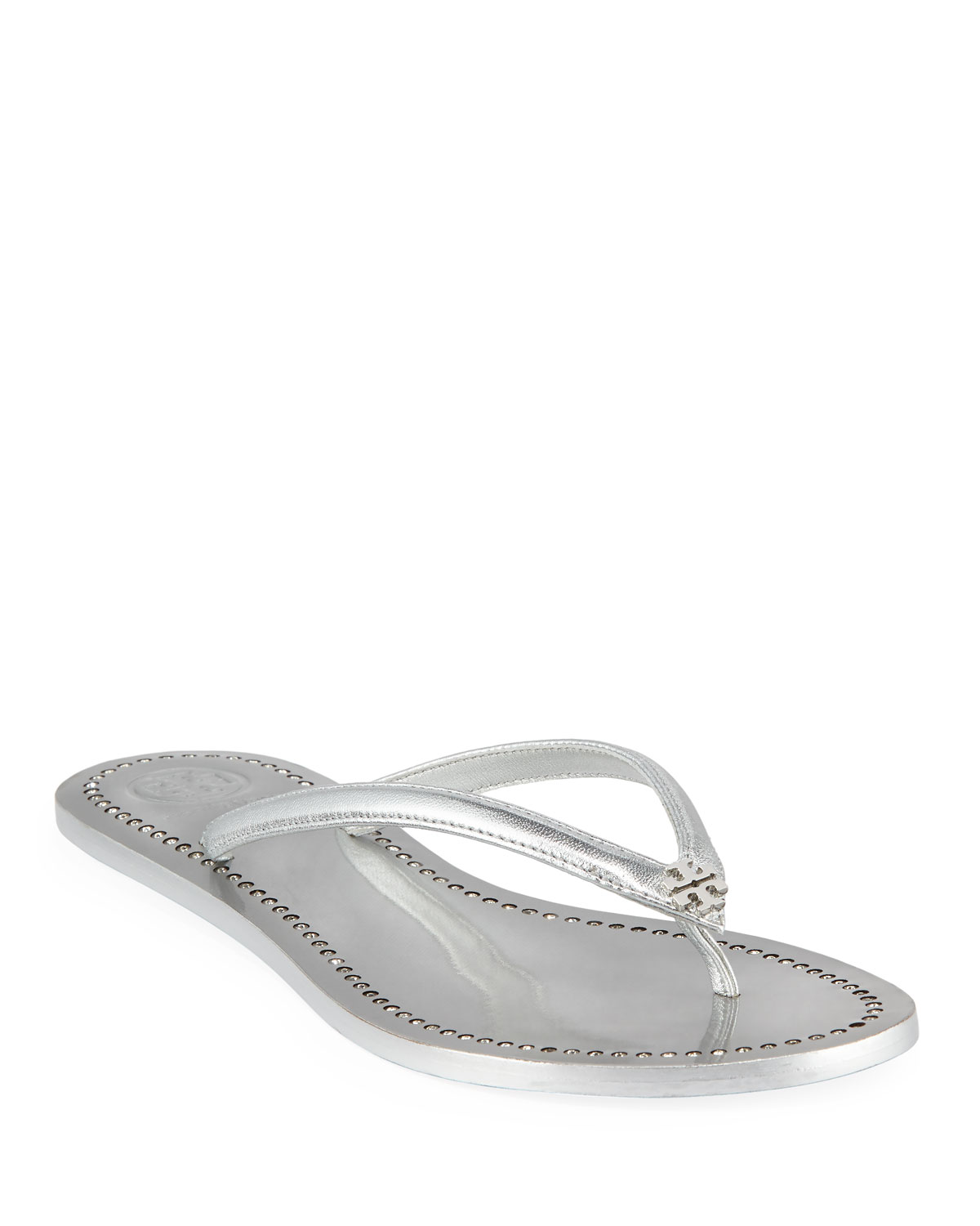 6121c2d3fd03 Tory Burch Liana Flat Metallic Leather Thong Sandals