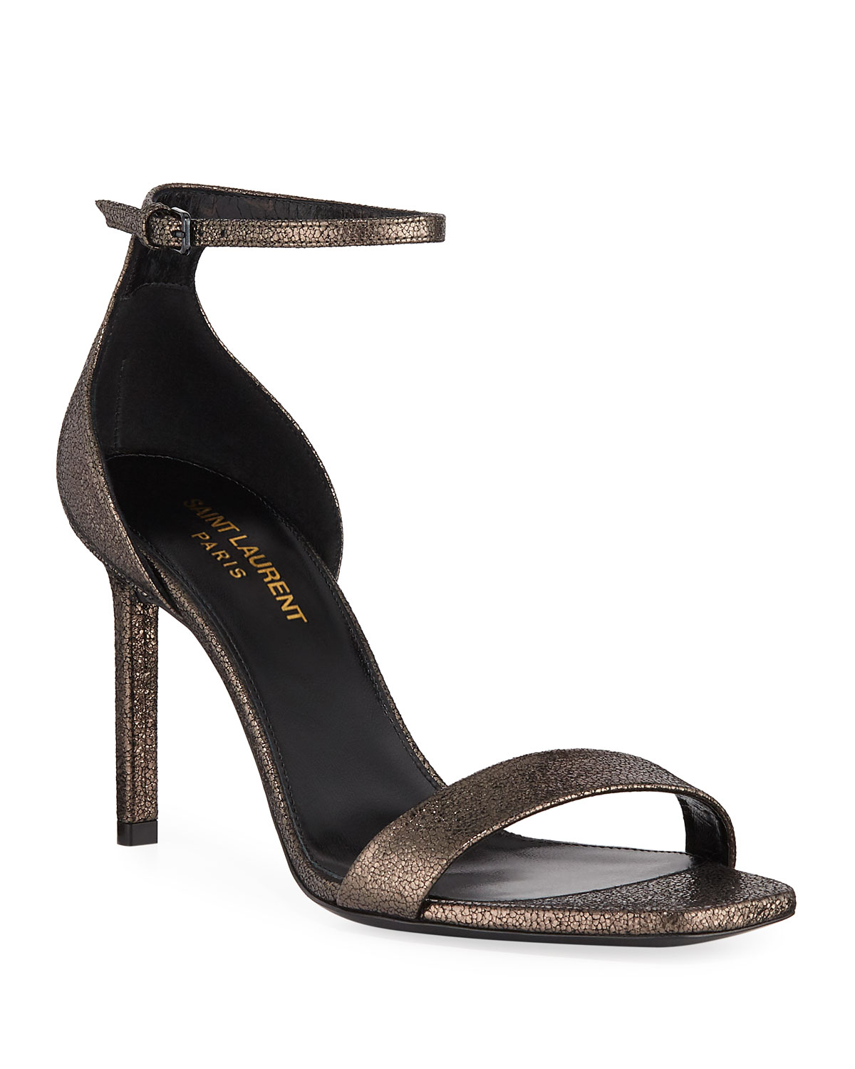 aa95906ff Saint Laurent Amber Metallic Ankle-Wrap Sandals