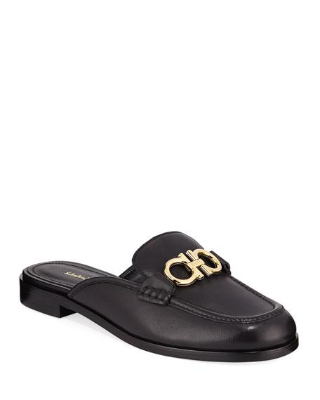 Salvatore Ferragamo Viggio Flat Leather Mule Loafers with