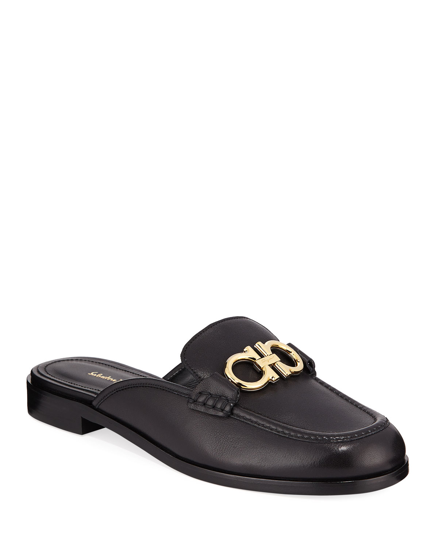 54f9b79cc40 Salvatore FerragamoViggio Flat Leather Mule Loafers with Reversible Gancini  Bit