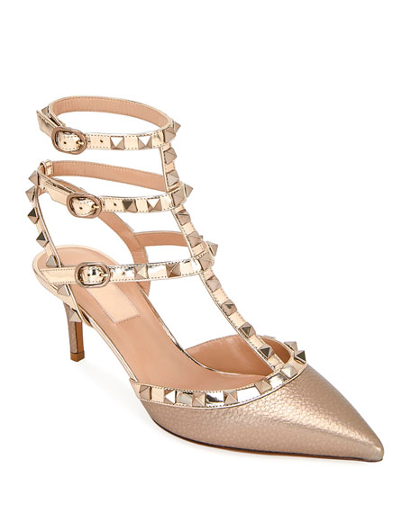 Valentino Garavani Rockstud Metallic Pointed Ankle Pumps