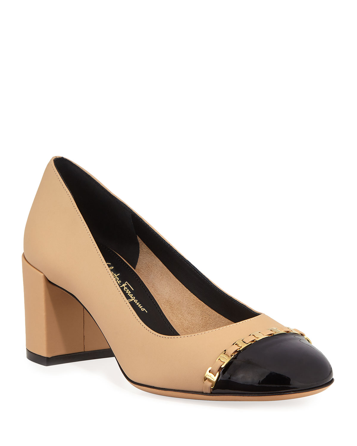 dc1e783bf2d Salvatore Ferragamo Avella Cap-Toe Pumps with Mini Buckles