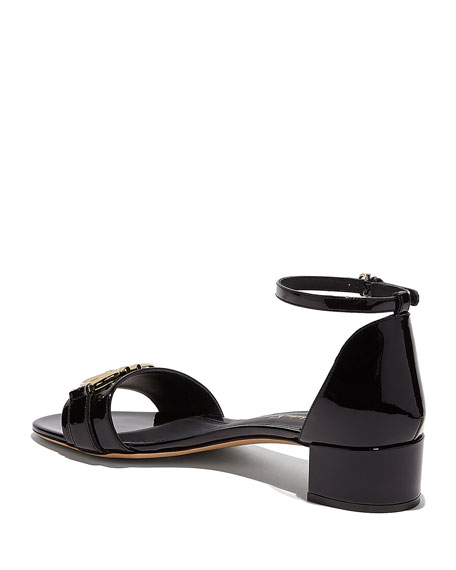 Salvatore Ferragamo Como Gancini Patent City Sandals, Black