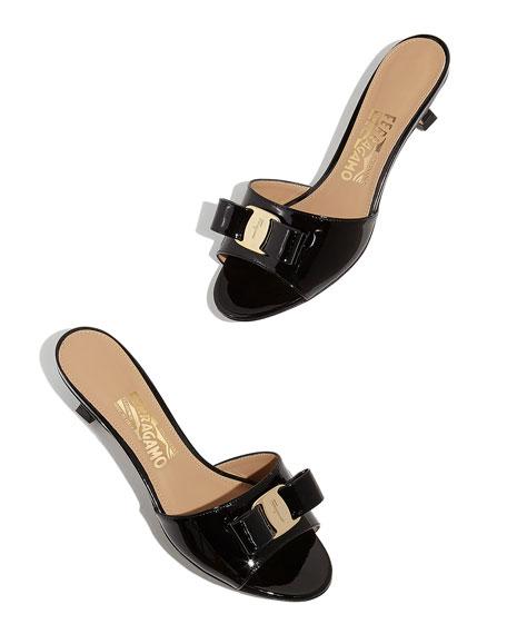 Salvatore Ferragamo Ginostra Patent Bow Slide Sandals, Black