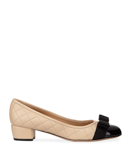 Salvatore Ferragamo Vara Quilted Bow Pumps