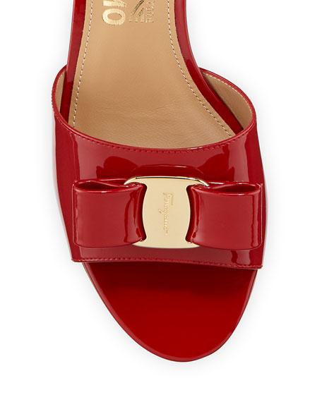 Salvatore Ferragamo Ginostra Patent Bow Slide Sandals, Rosso