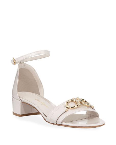 Salvatore Ferragamo Como Gancini Patent City Sandals, Jasmine