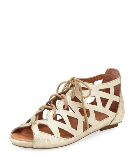 Gentle Souls Brielle Lace-Up Flat Cutout Comfort Sandals