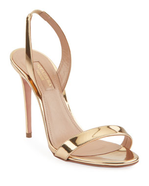 5551c5e27157c Aquazzura So Nude 105 Metallic Leather Slingback Sandals