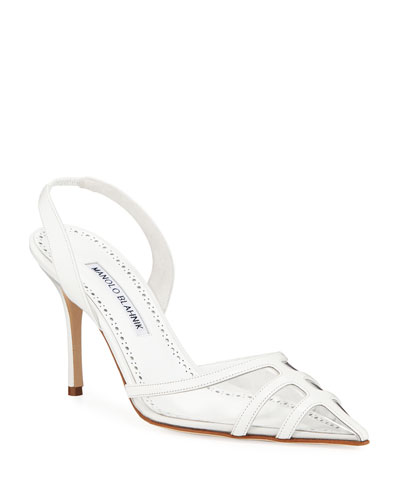 Gotrianc Clear-Toe Leather Slingback Pumps