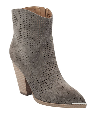 b163df4666c Marc Fisher Daire Perforated Suede Boots from Neiman Marcus - Styhunt