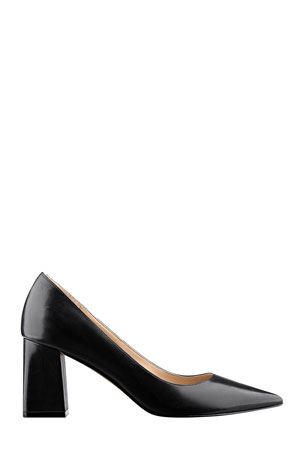 Black Square Toe Clear Strappy Block Heel Mule