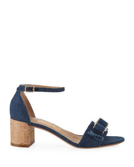 Salvatore Ferragamo Gavina Jeans Studded Bow Sandals