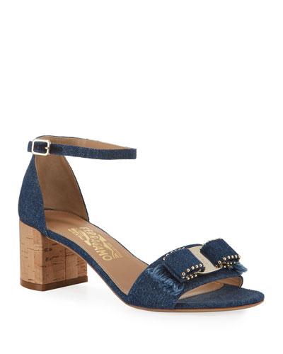 Gavina Jeans Studded Bow Sandals