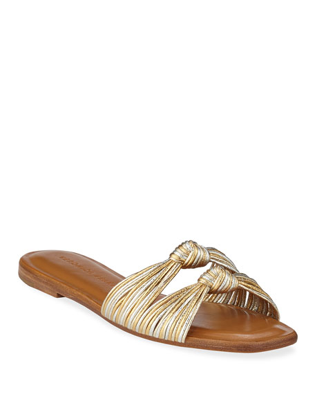 deadc3fef Veronica Beard Gemma Knotted Metallic Flat Sandals