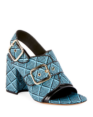 87725582681c Dries Van Noten Raffia Calf-Leather Chunky Heel Sandal s