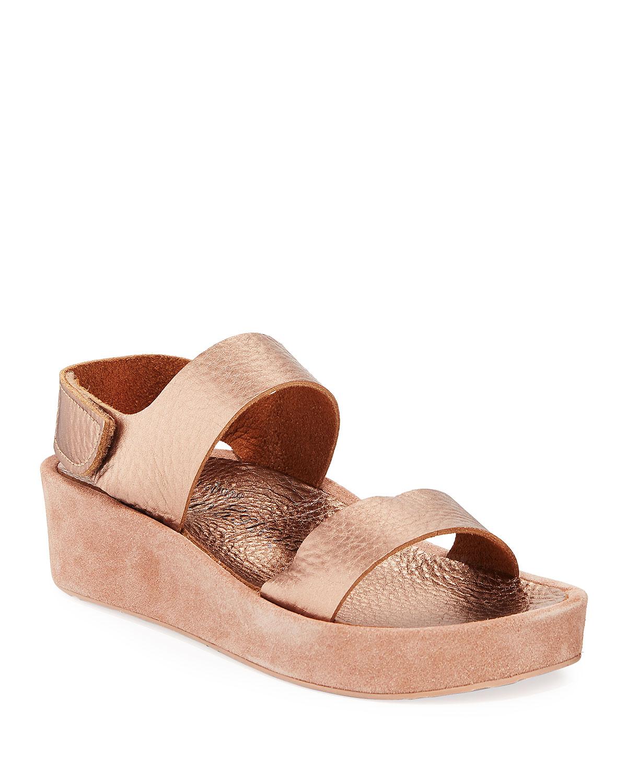 9f86e4f0f214 Pedro Garcia Lacey Metallic-Leather   Suede Flatform Sandals ...