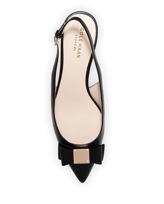 a02c76fb5 Cole Haan Tali Grand Bow Kitten-Heel Leather Pumps, Black   Neiman Marcus