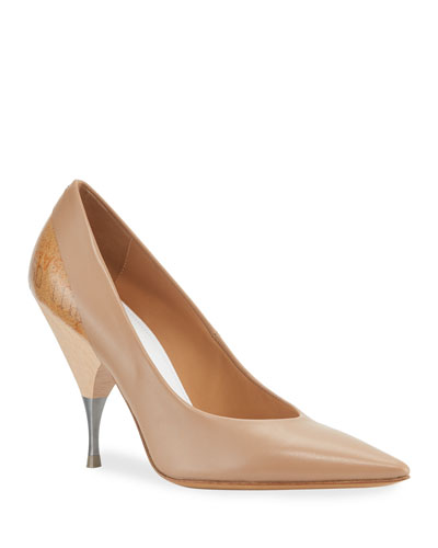 Deconstruct Leather Pointed-Toe Pumps