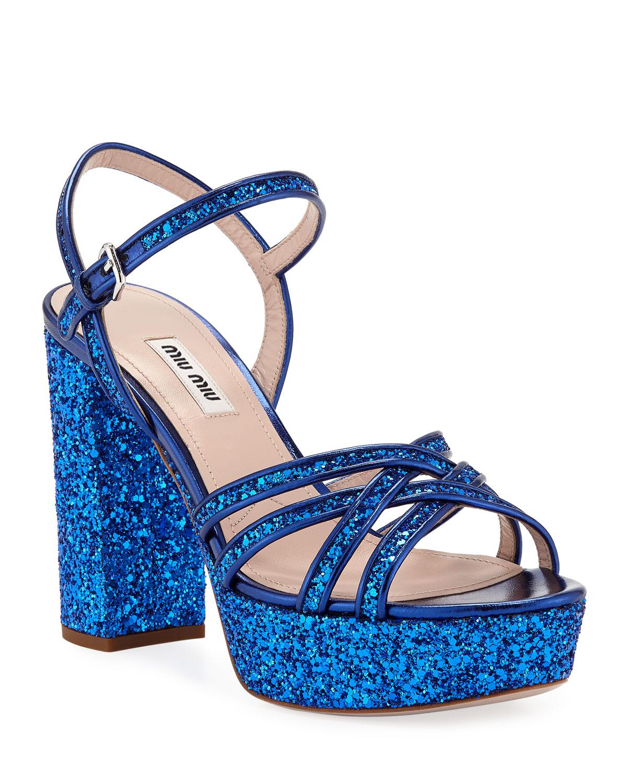 ec9b67b95 Miu Miu Glitter Strappy Platform Sandals