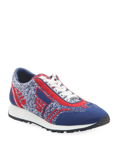 Knit Lace-Up Tennis Sneakers