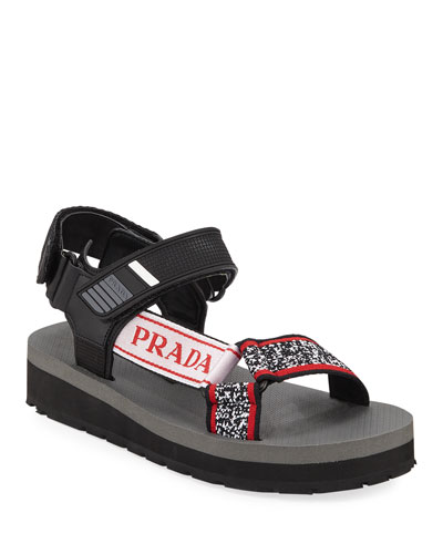 Trek Printed Grip-Strap Sandals