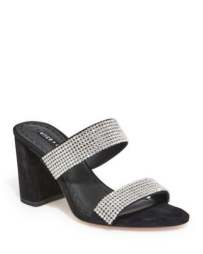 8a0eca498fdb Alice + Olivia Laleah Block-Heel Slide Sandals