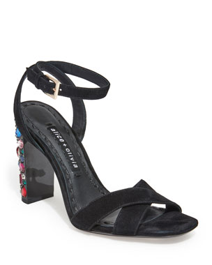 cb32444e7d6 Alice + Olivia Renia Embellished Block-Heel Sandals