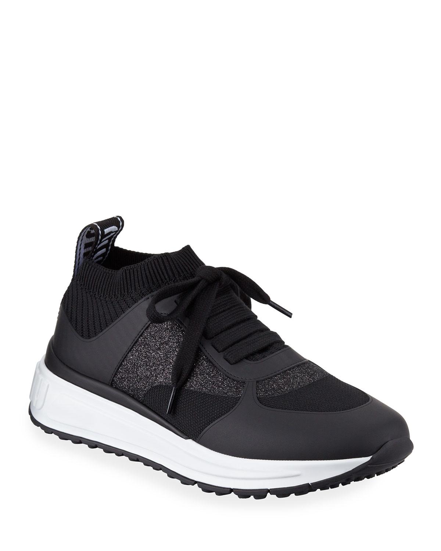 e155788a5f4 Miu Miu Mixed Tech Knit Platform Sneakers