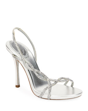 Rene Caovilla Crystal-Embellished Metallic Slingback Sandals f136c5629efa