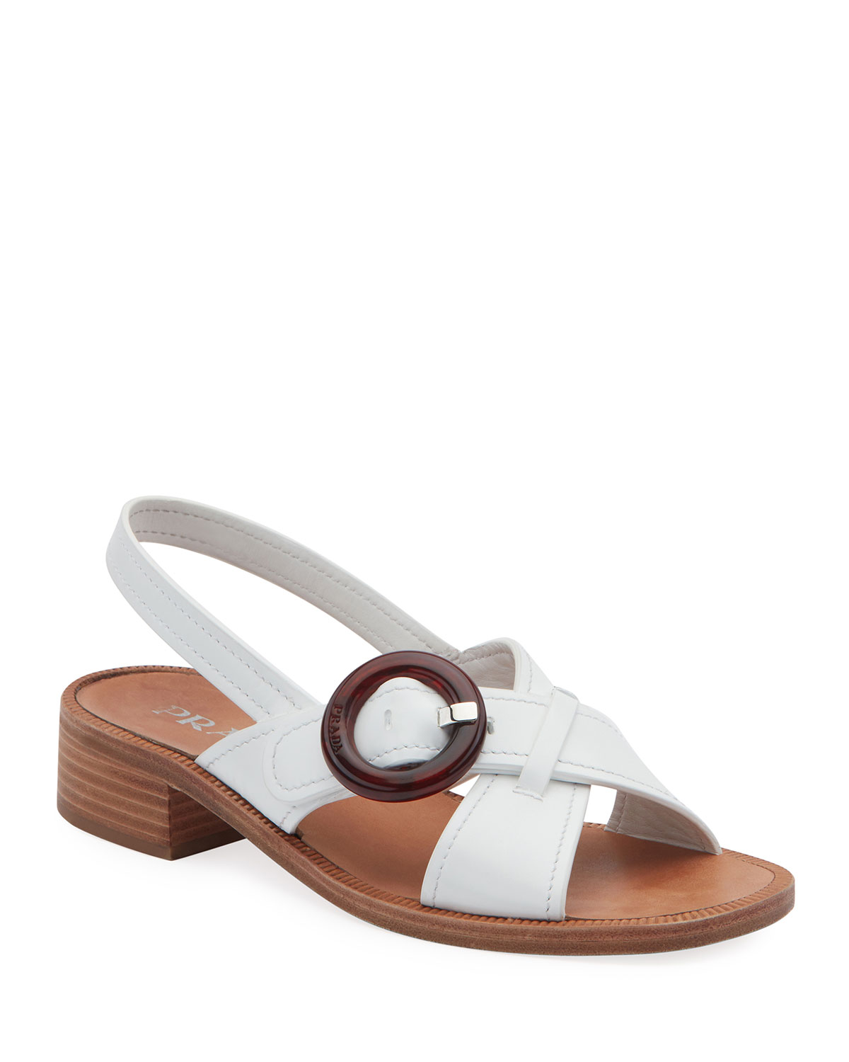 afbe3f7909c Prada Leather Buckle Flat Sandals