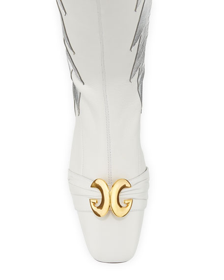 Gucci Usagi Lightning Over-the-Knee Leather Boots