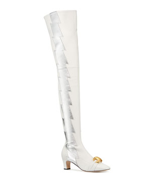 fd61c7be3418 Gucci Usagi Lightning Over-the-Knee Leather Boots