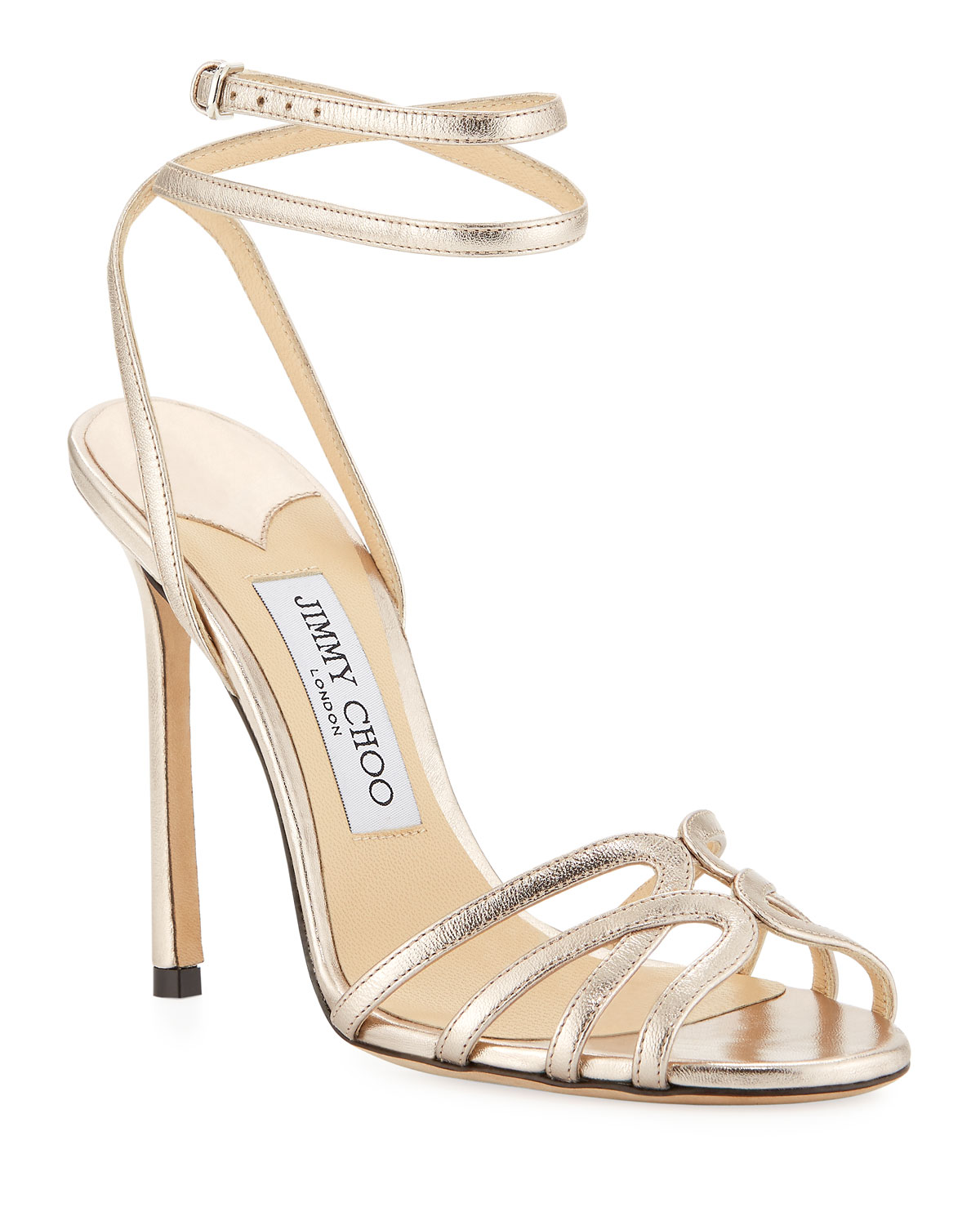 858cc628c16 Jimmy Choo Mimi Metallic Leather Sandals
