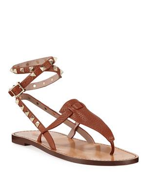 7b81d75aad47 Valentino Garavani Flat Rockstud Ankle-Wrap Gladiator Sandals