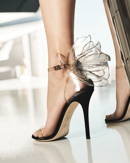 Image 2 of 5: Vinyl Flower Ankle-Strap Sandals