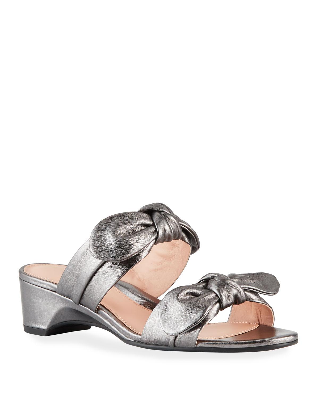 b76eee07b1e Taryn Rose Nanette Metallic Bow Wedge Sandals