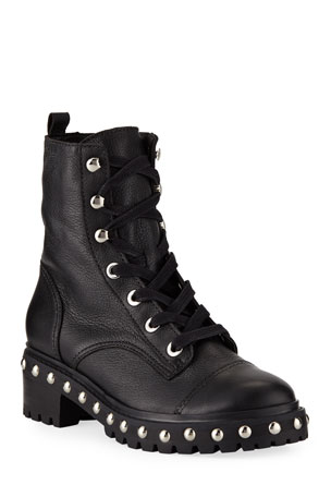 Schutz Andrea Studded Leather Combat Boots