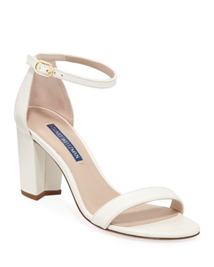 4db589eb10269 Stuart Weitzman Nearlynude Textured Patent City Sandals