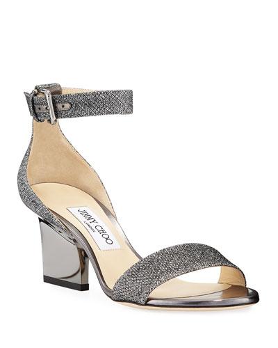 Edina Metallic Fabric Sandals  Gray