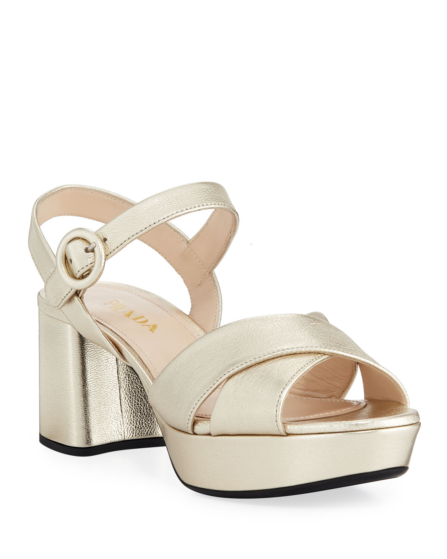 9a0d27d7978 Prada Metallic Leather Crisscross Ankle-Wrap Sandals
