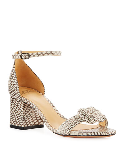 Malica Knot Snakeskin Sandals