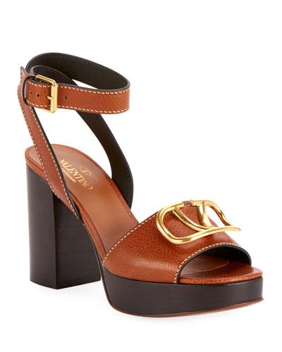 Golden V Leather Platform Sandals