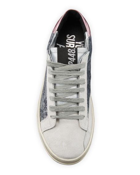 P448 John Lace-Up Metallic Denim Sneakers